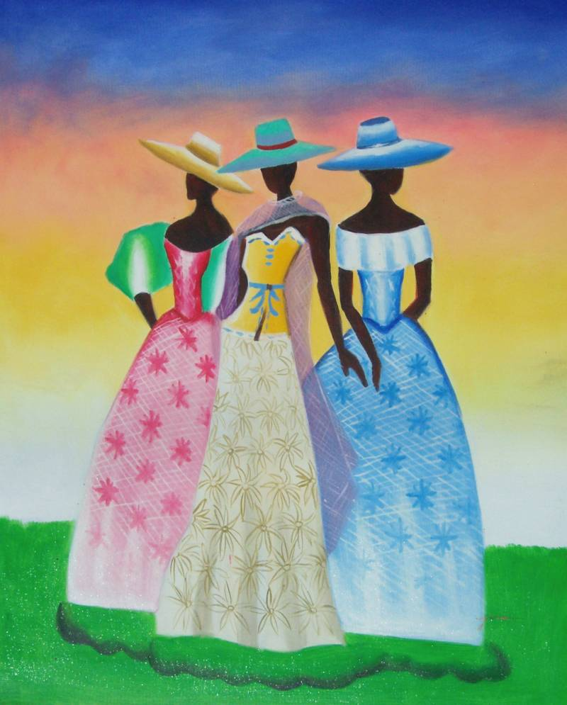 AFRICAN AMERICAN ART BLACK BEAUTIES OIL PAINTING