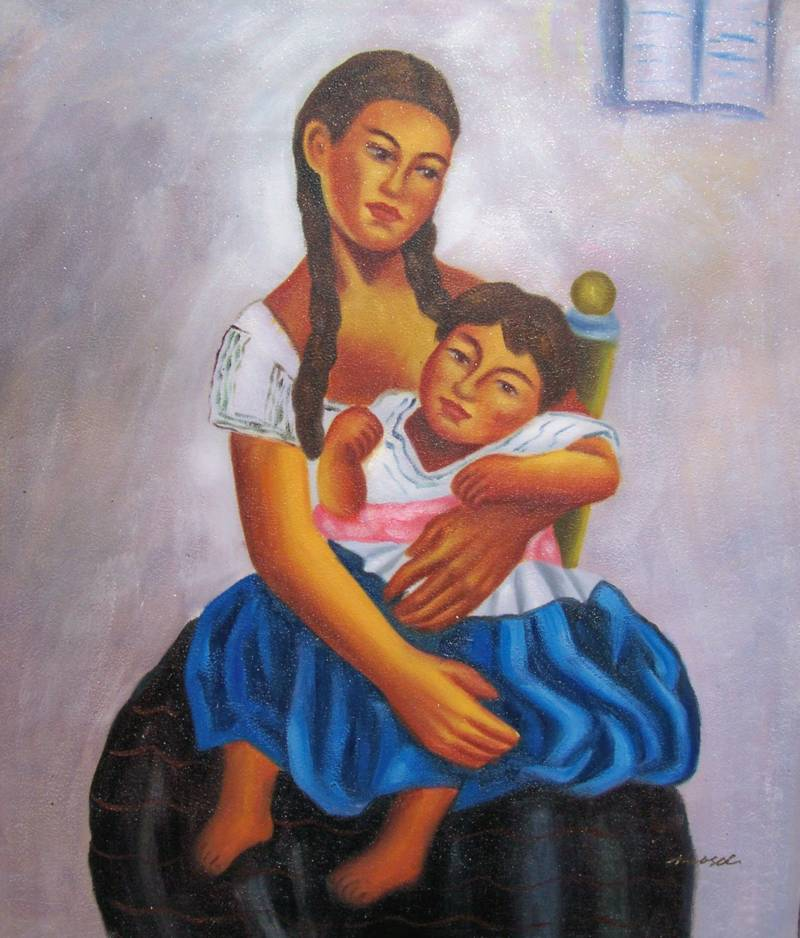 MEXICAN ART DIEGO RIVERA REPRO' MOTHER AND CHILD OIL PAINTING