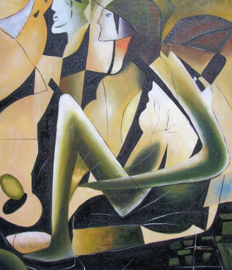 MIRROR IMAGE ANCIENT EGYPT ABSTRACT OIL PAINTING