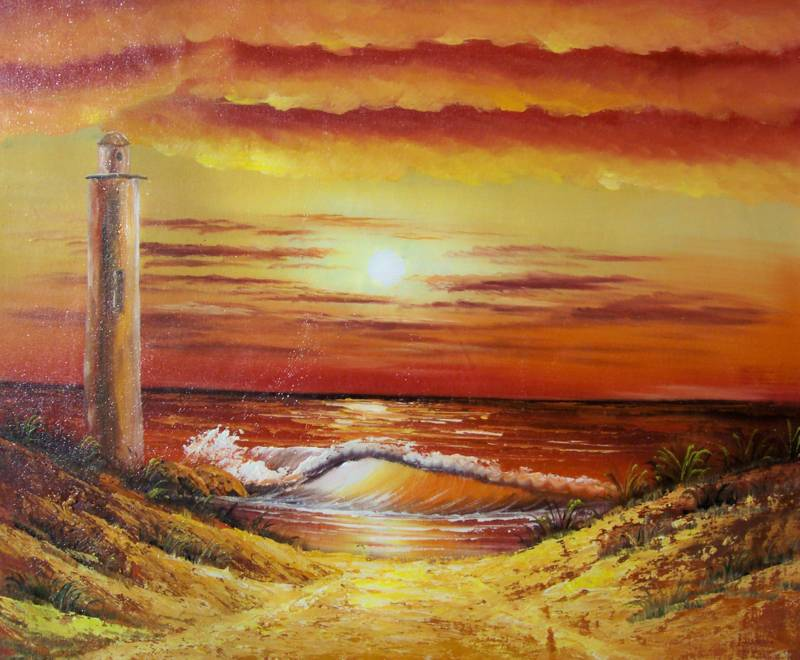 RED SKY LIGHTHOUSE SEASCAPE OIL PAINTING