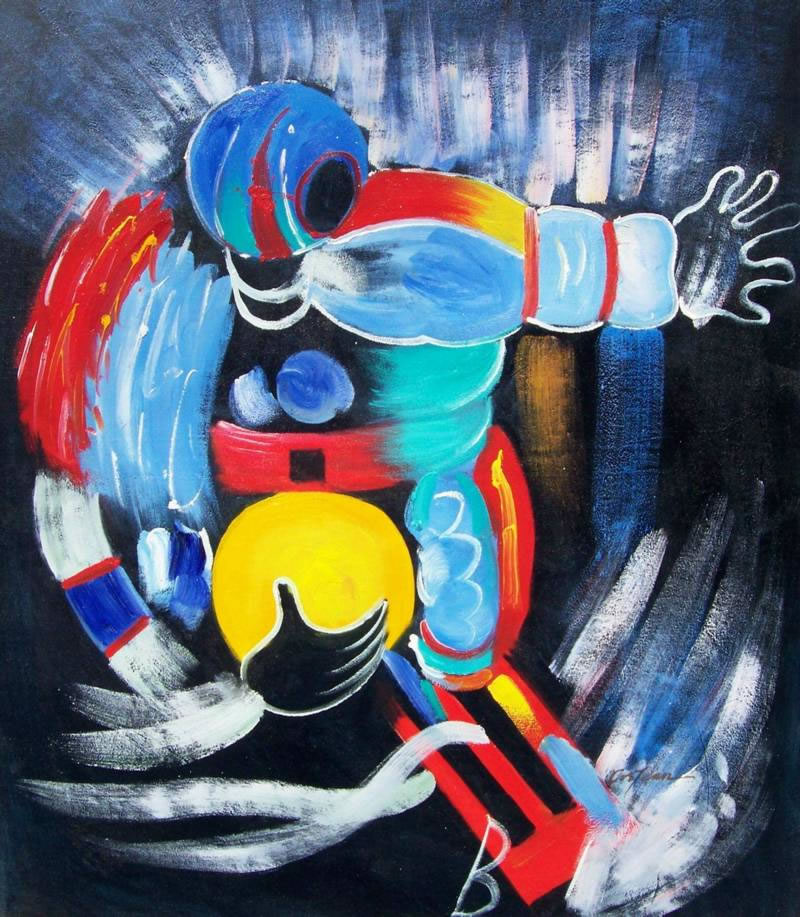 Sports Oil Painting #108:Abstract Footbal Player Sports