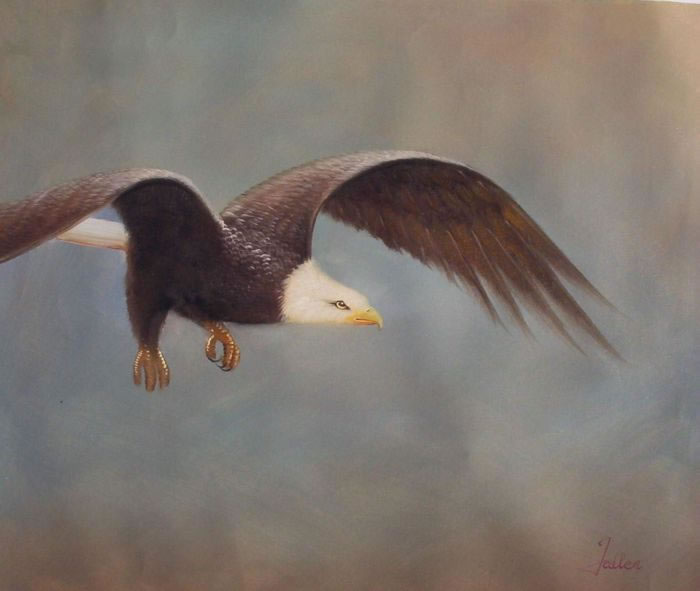 Animal Portrait Oil Painting #109:Flying Eagle