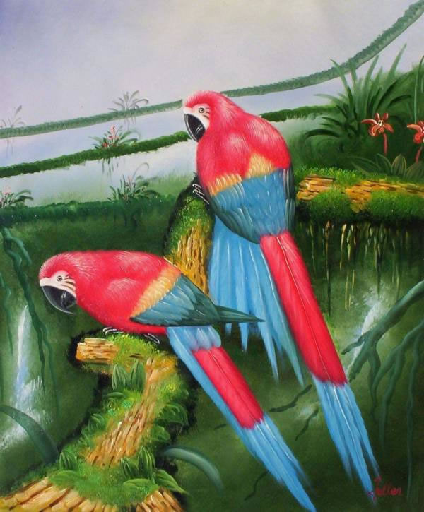 Animal Portrait Oil Painting #110:Parrots Birds
