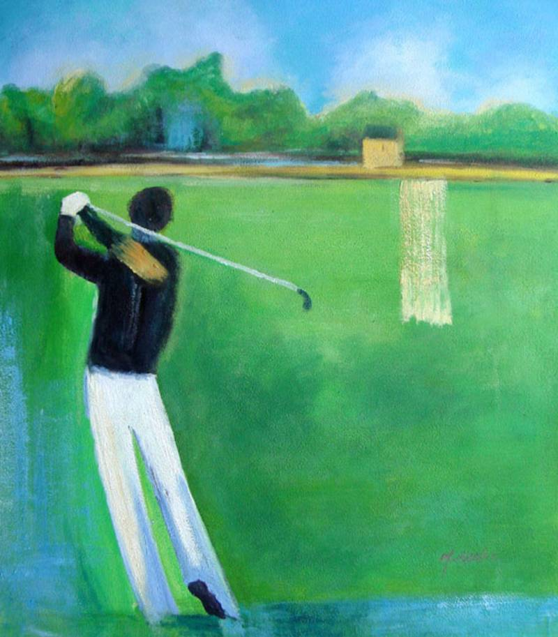 SPORTS GOLF PLAYER MODERN  OIL PAINTING