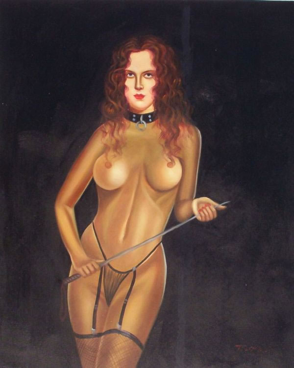 High Quality Portrait Oil Painting #125:Nude Dominatrix Woman Wh