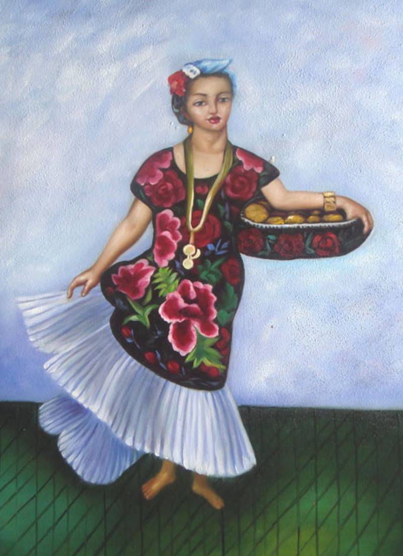 MEXICAN ART DIEGO RIVERA REPRO BAKER WOMAN OIL PAINTING