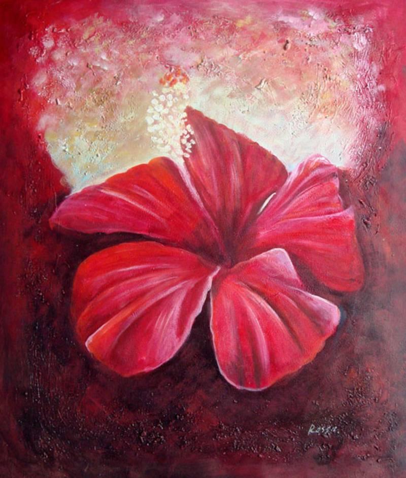 Red Flower Closeup Modern Still Life Oil Painting