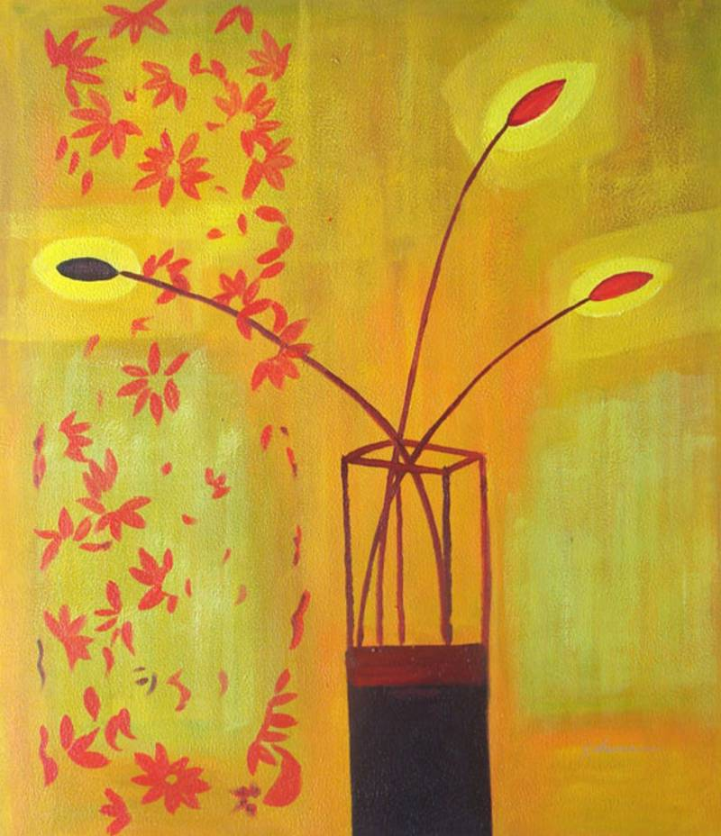 ELECTRIC FLOWER VASE MODERN STILL LIFE OIL PAINTING