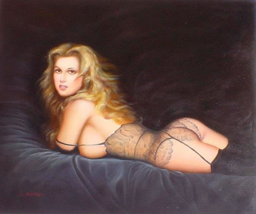 High Quality Portrait Oil Painting #134-PA098:Sexy Nude Woman Li