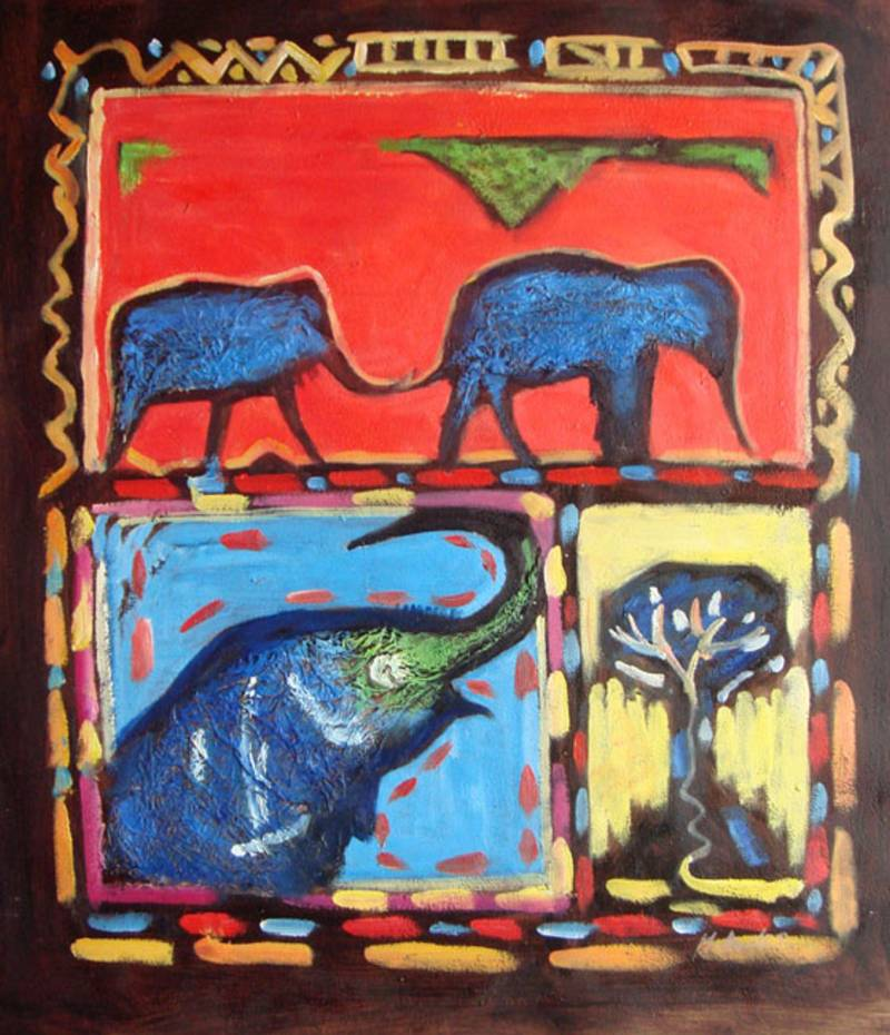 NEW AGE ELEPHANTS INDIAN ART OIL PAINTING