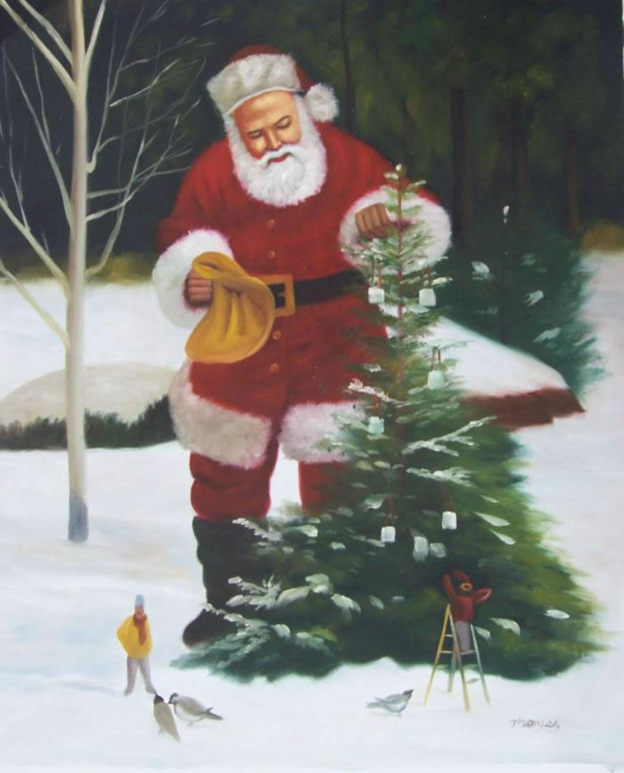 High Quality Portrait Oil Painting #135:Santa Clause Christmas T
