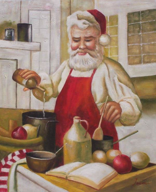 High Quality Portrait Oil Painting #136:Santa Clause Cooking Chr