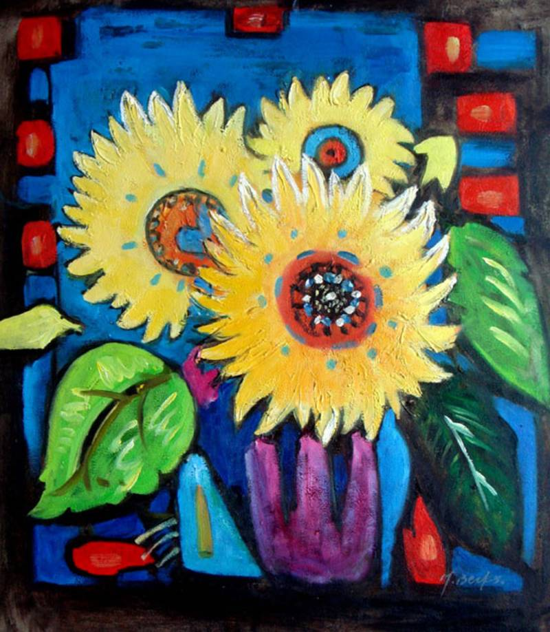 SUNFLOWER VASE MODERN ART STILL LIFE OIL PAINTING