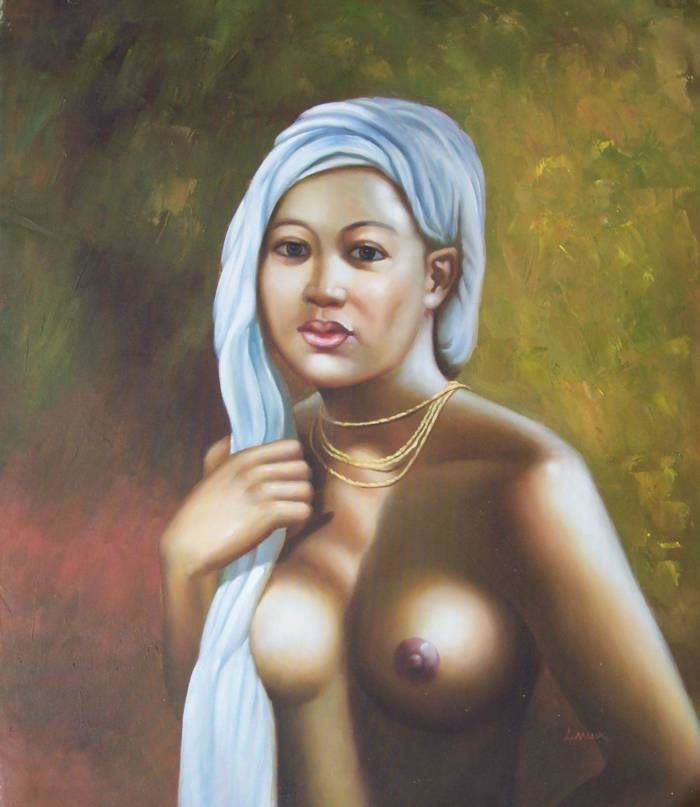 High Quality Portrait Oil Painting #138:Black Art Nude African A