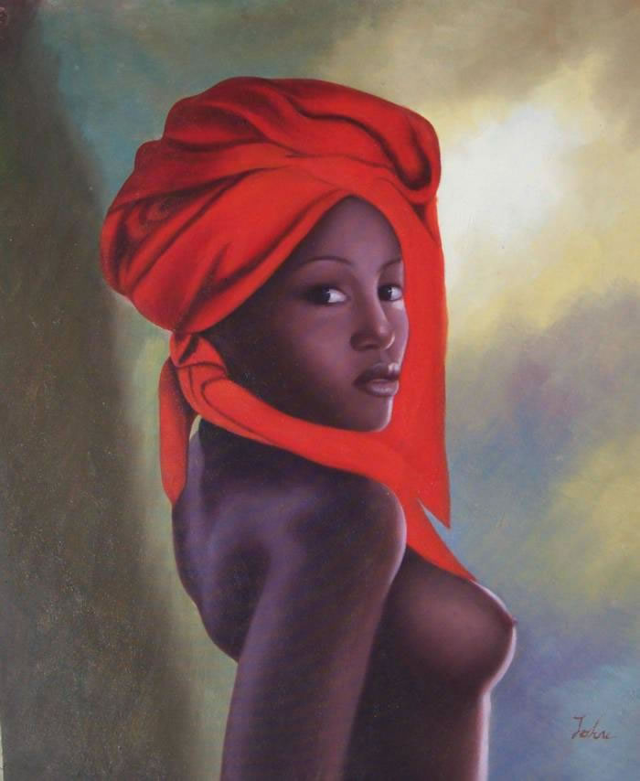 High Quality Portrait Oil Painting #139:African American Woman N