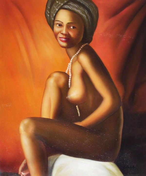High Quality Portrait Oil Painting #144:Nude African American Wo