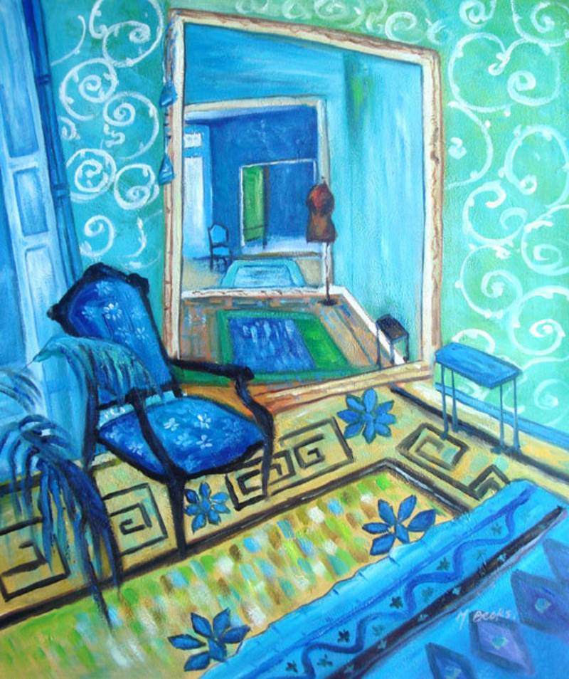 Blue Room Modern Art Oil Painting