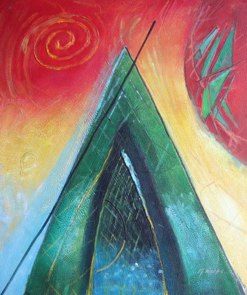 PYRAMID OF LIGHT ABSTRACT OIL PAINTING
