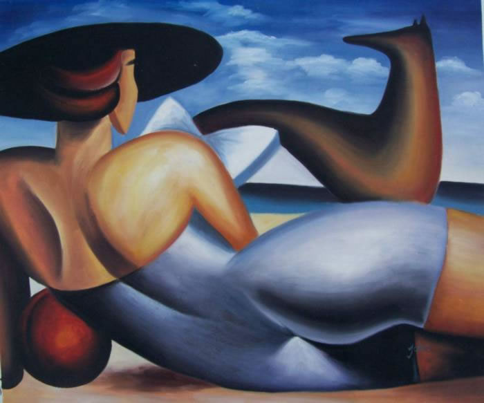 Modern Portraits Oil Painting #149:Abstract Woman Reading Beach