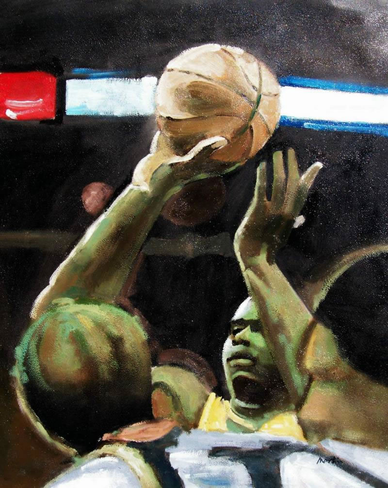 Sports Oil Painting #158:Shaquille O'neal Basketball Player Spor