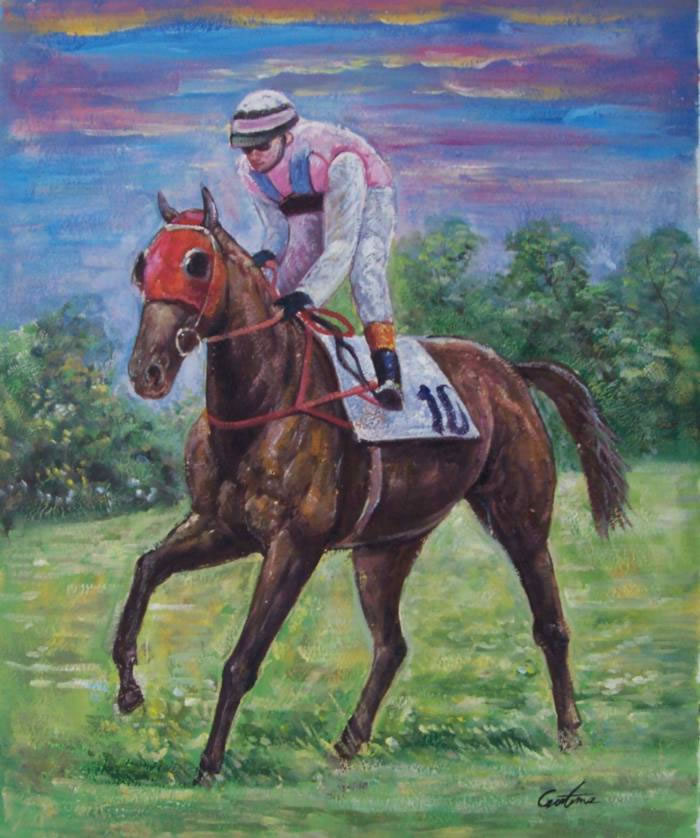 Sports Oil Painting #160:Derby Horse Jockey Sports