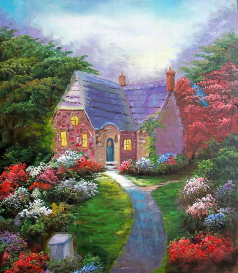American Cottage Oil Painting 165Garden Path Woods Home Landsc