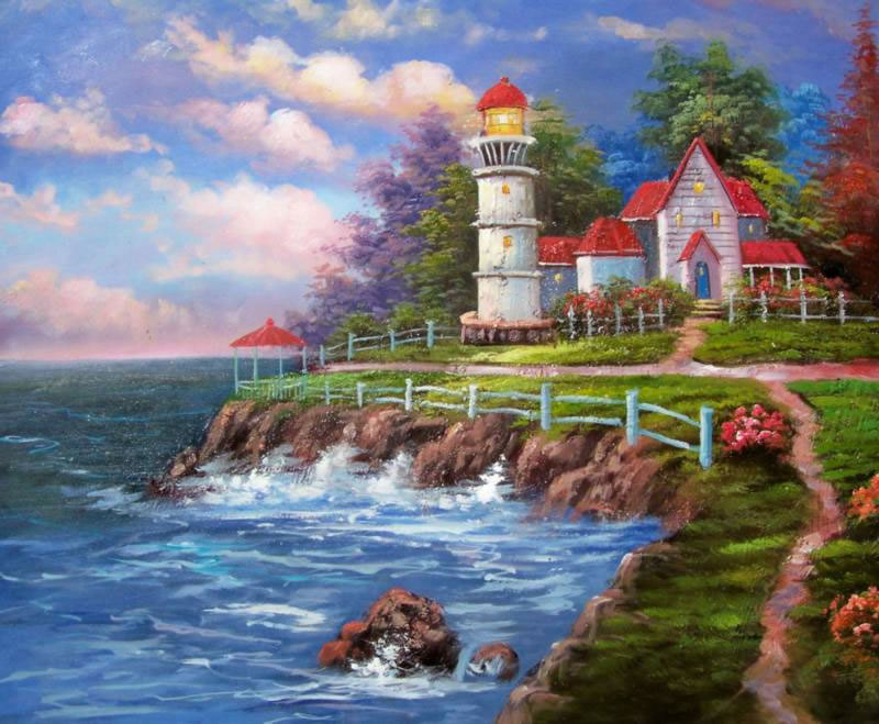 American Cottage Oil Painting #167:Lighthouse Beachside Rocky Wa