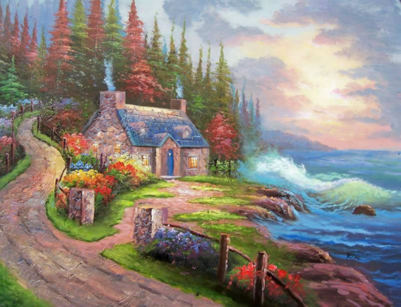 American Cottage Oil Painting 172Cottage Lakeside Rocky Waves