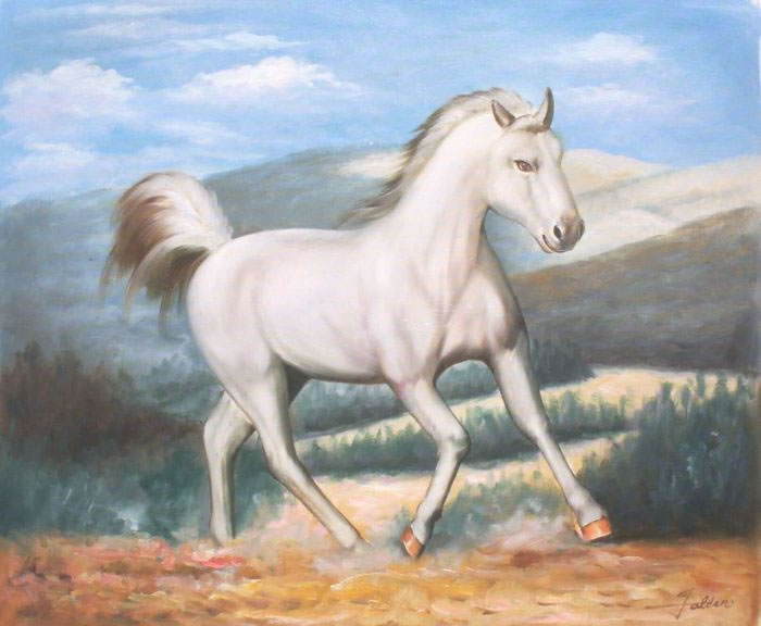 Animal Portrait Oil Painting #184:White Horse