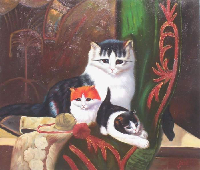 Animal Portrait Oil Painting #186:House Cats