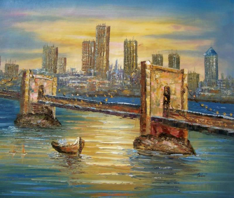 Cityscapes & World Sceneries Oil Painting #189:New York City Bri