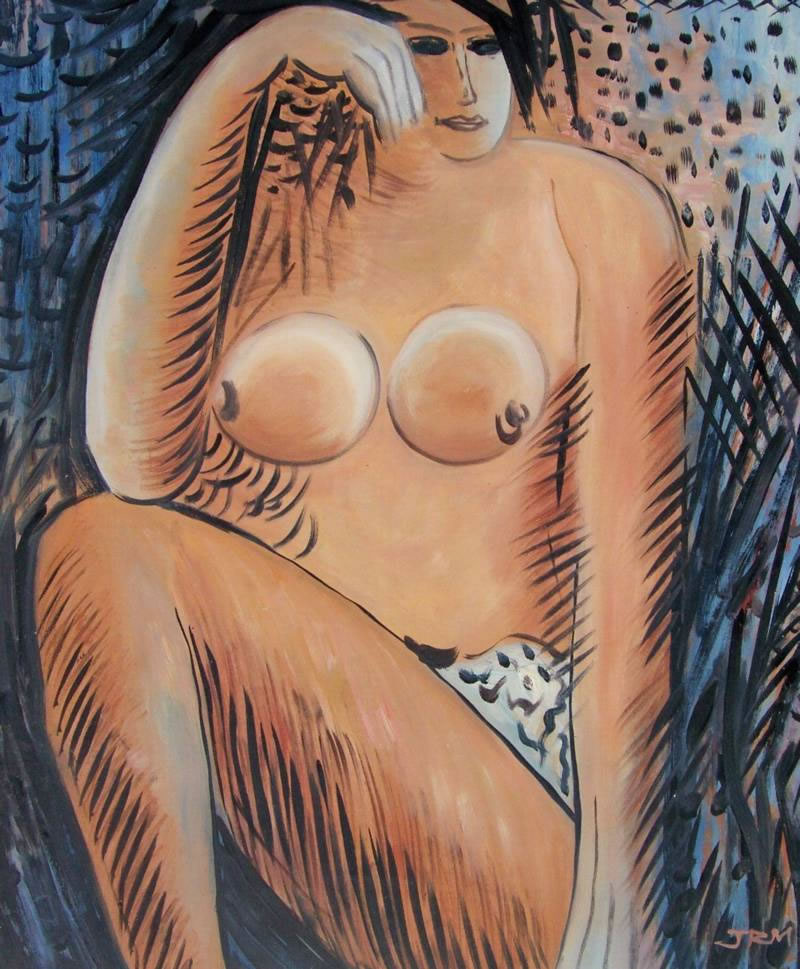 Modern Portraits Oil Painting #018: Abstract Nude Woman