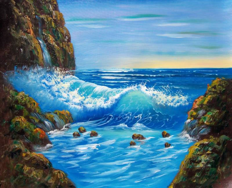 Land, Sea & Nature Oil Painting #205:Seascape Waterfall Waves