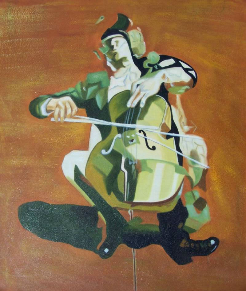 Modern Portraits Oil Painting #021: Abstract Chello Player