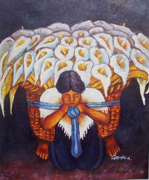 Mexican Art Oil Painting #22:Diego Rivera Woman Flower Vendor