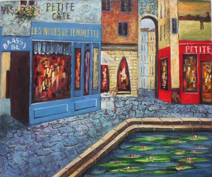 European Scenes Oil Painting #248: French Bistro Café Pond Europ