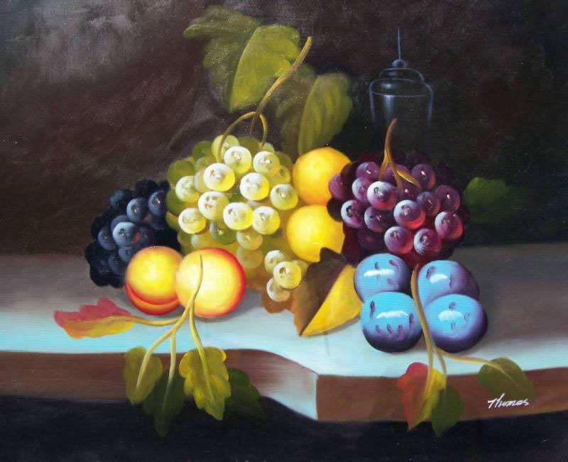 Still Life Oil Painting #253: Grapes Plums Still Life Fruit