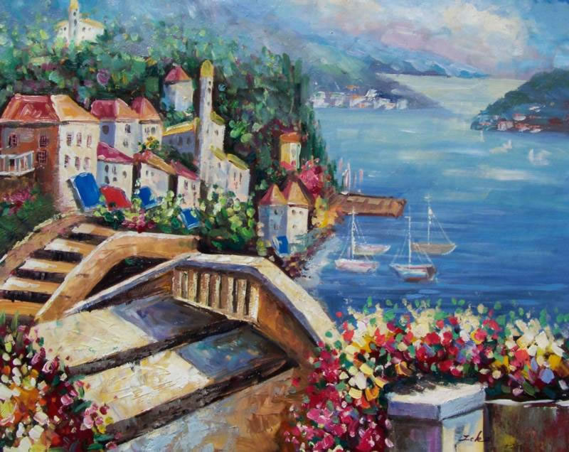 Mediterranean Oil Painting #258: Italy Mediterranean Lake View