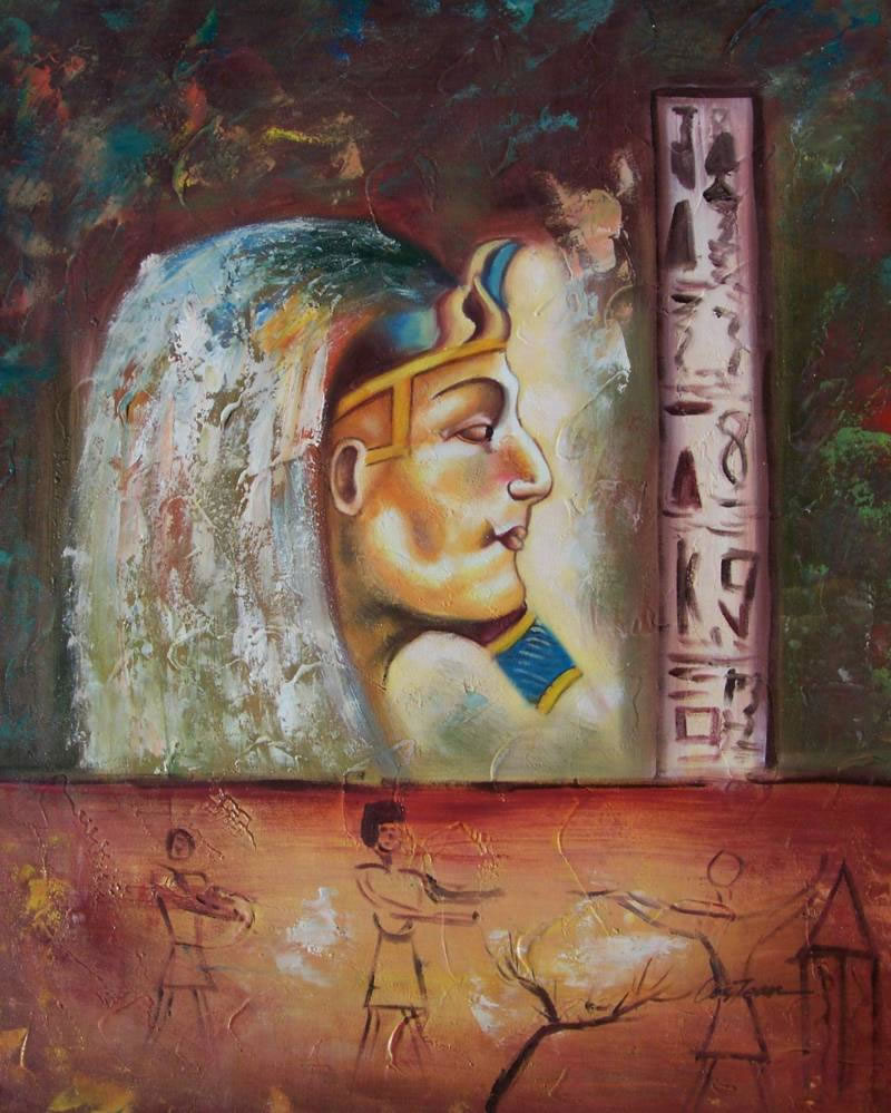 Modern Portraits Oil Painting #261:Egyptian King Anceint Egypt S