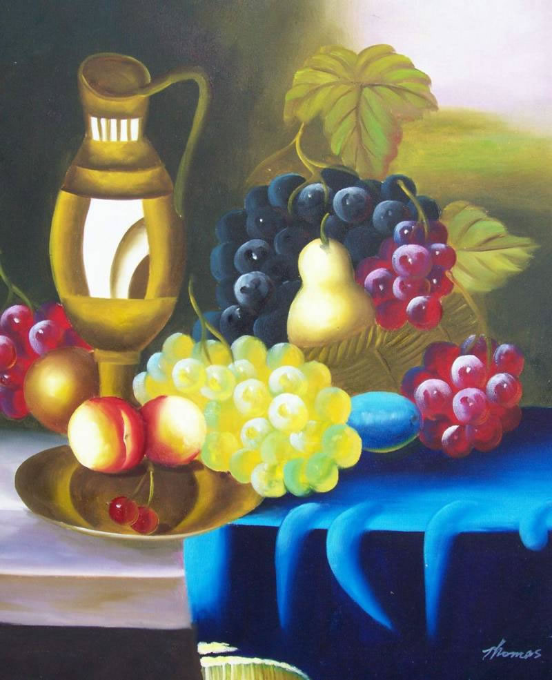 Mediterranean Oil Painting #262:Still Life Fruits Pears Grapes P