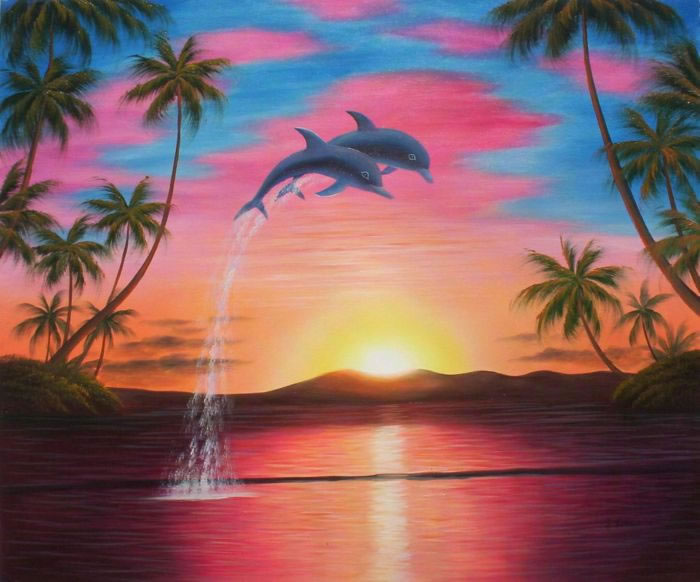 Animal Portrait Oil Painting #269:Tropical Sunset Dolphins
