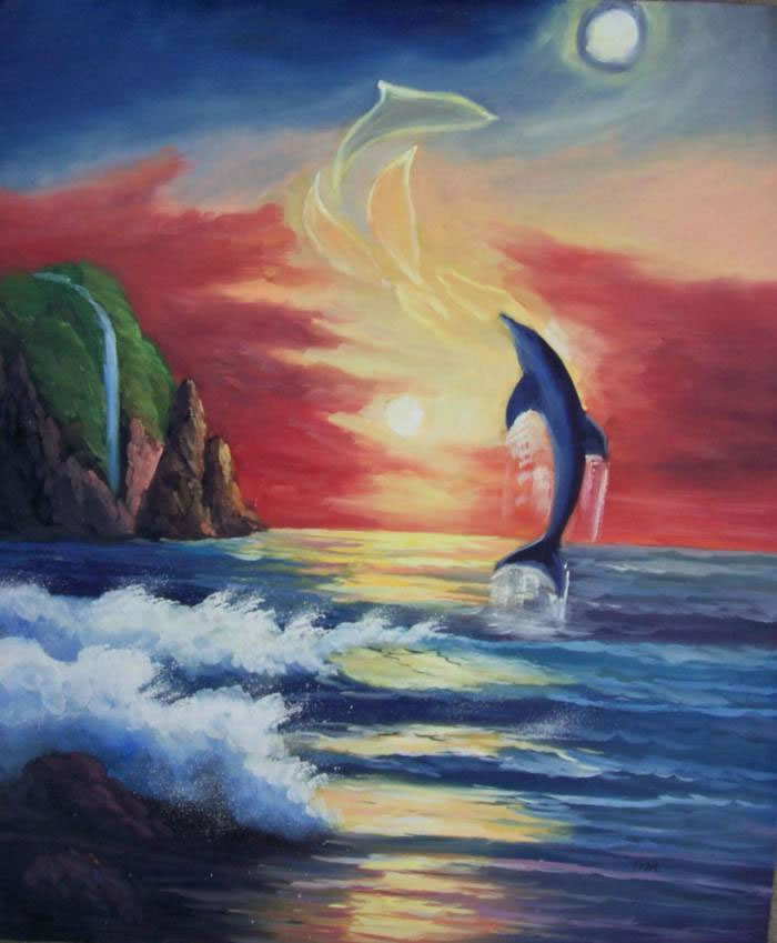 Animal Portrait Oil Painting #265:Out Of Water Dolphin Sunset