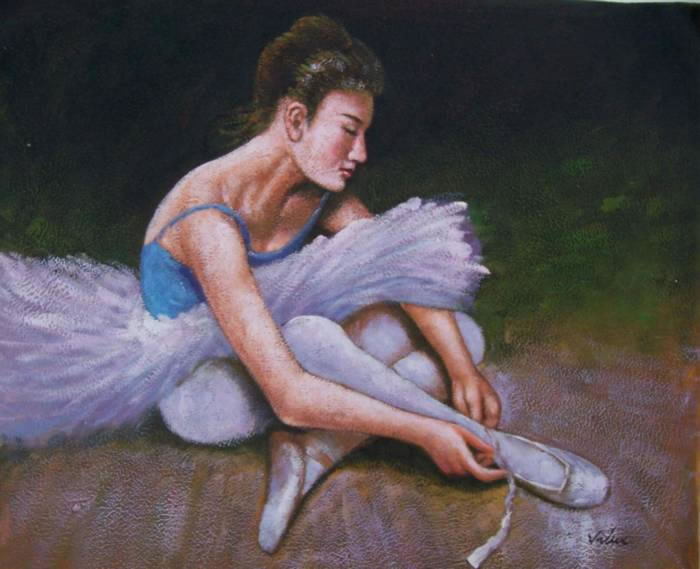 High Quality Portrait Oil Painting #271:Lady Ballerina Dancer Po