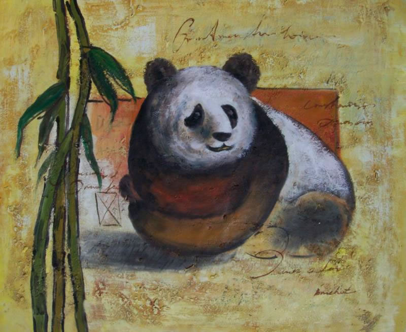 Animal Portrait Oil Painting #030:Panda Bear