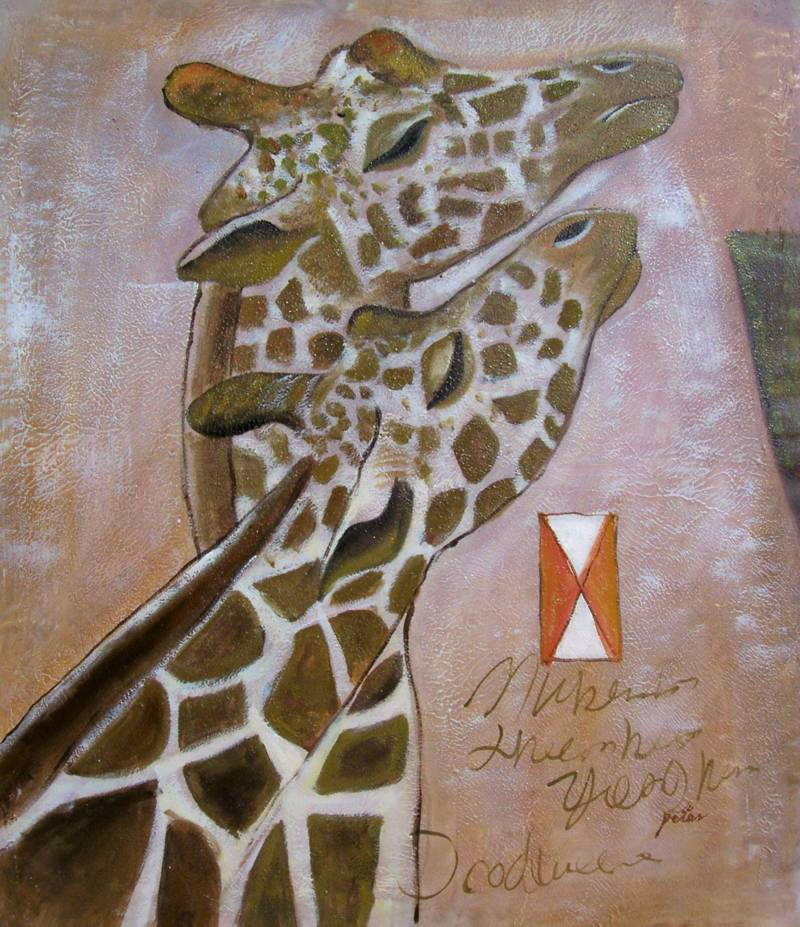 Animal Portrait Oil Painting #035:Giraffes