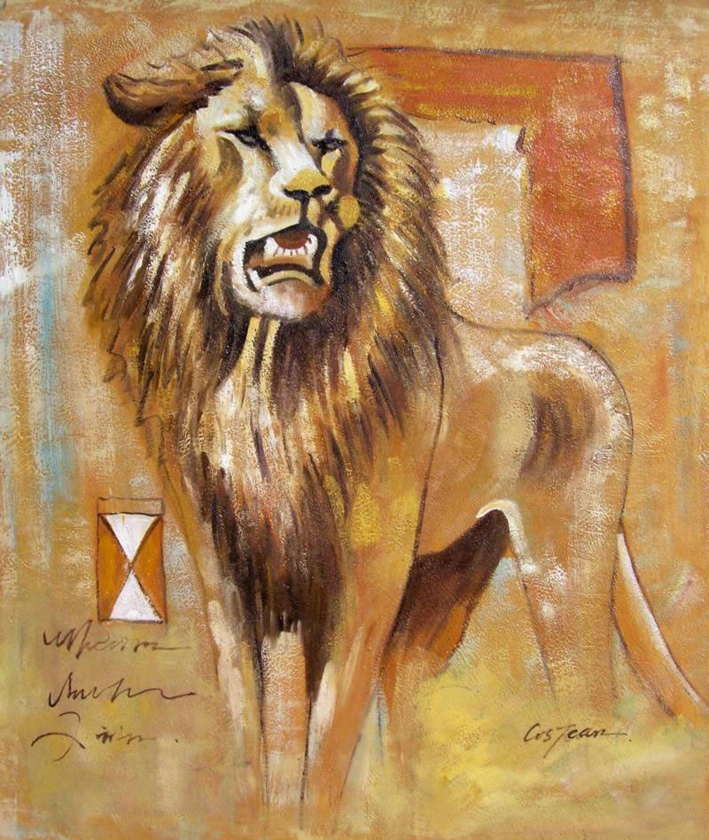 Animal Portrait Oil Painting #036:Lion