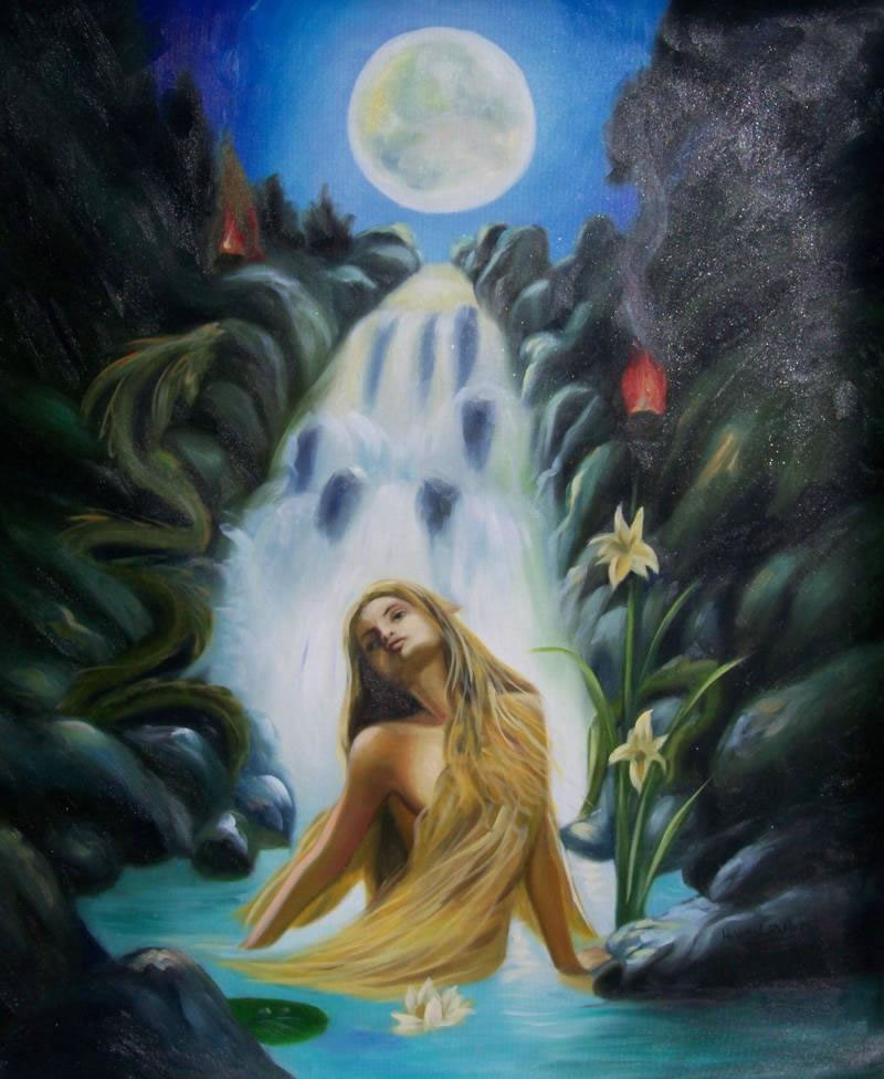 Modern Portraits Oil Painting #039:Fantasy Mermaid Waterfall Moo