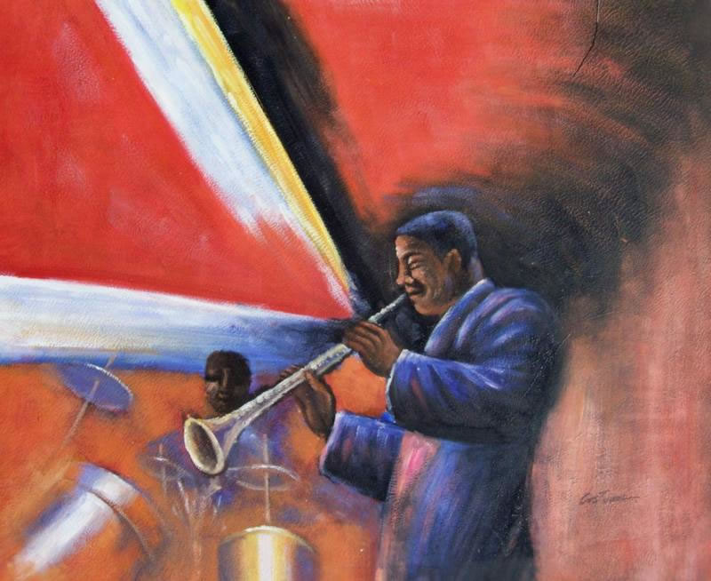 Black Art Oil Painting #47:African American Jazz Musician's