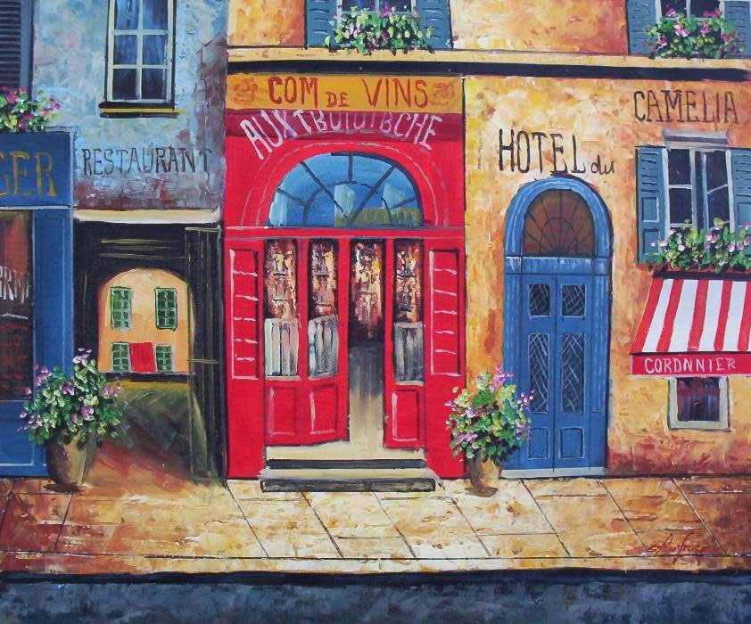 European Scenes Oil Painting #048:European Scene Hotels Restaura