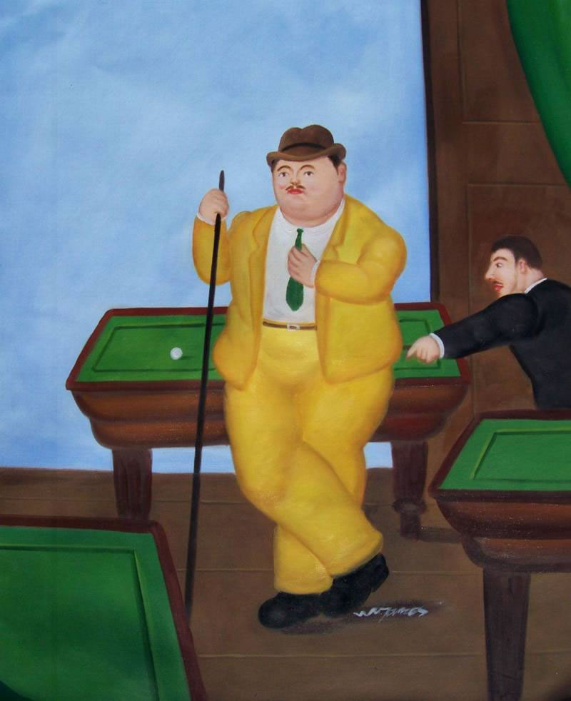 Fernando Botero Oil Painting #061:Pool Players